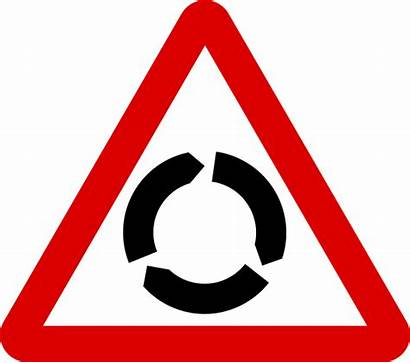 Road Roundabout Signs Sign Mauritius Warning Svg
