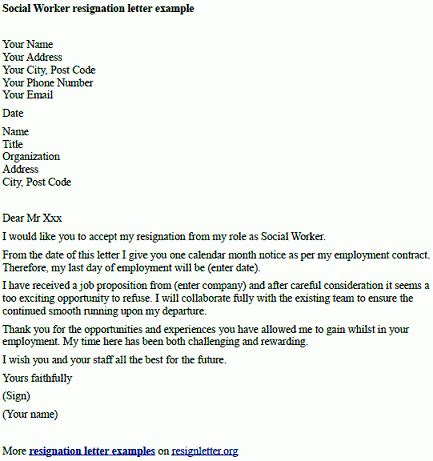 social worker resignation letter  resignation