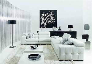 Minimalist black and white living room furniture desig for White living room furniture