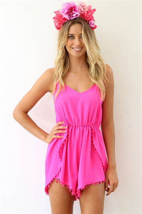 jumpsuit hair curl blonde hair neon dress top short