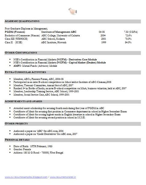 resume for financial analyst fresher financial analyst resume sle 2 career