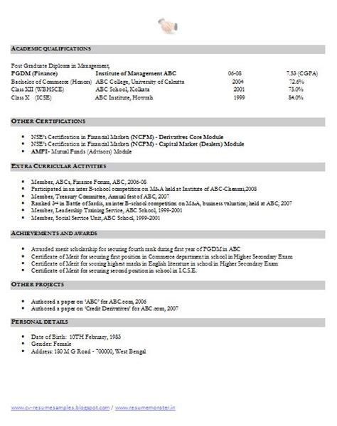 resume of financial analyst fresher financial analyst resume sle 2 career resume