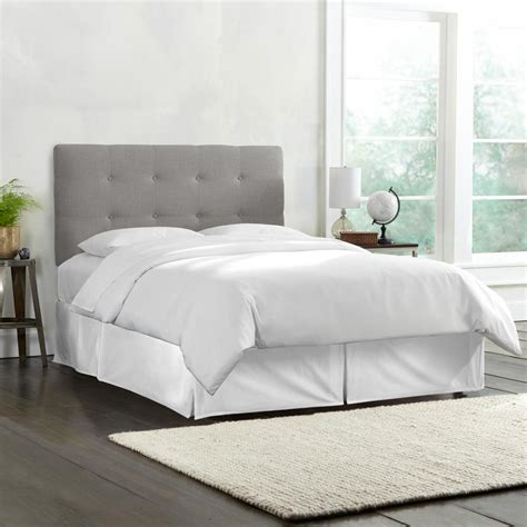 Grey Tufted Bed by Skyline Furniture King Tufted Headboard In Linen Grey
