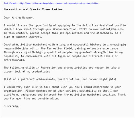 recreation  sports cover letter job application letter