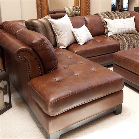 Chaise And Ottoman by Corsario Leather Sectional With Left Facing Chaise And
