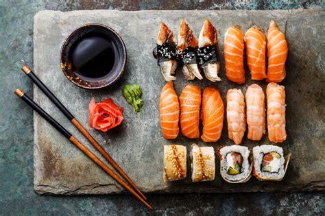 sushi rolls set  stone slate stock image image