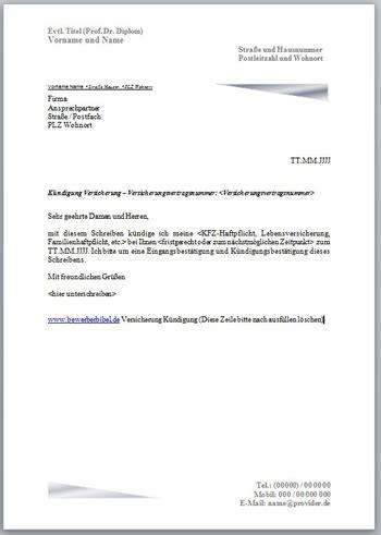 kündigung per einschreiben k 252 ndigung versicherung k 252 ndigungsschreiben vorlage