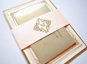 blush and gold wedding invitations vintage blush chagne - Gold Wedding Invitations