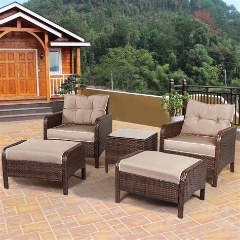 patio set with ottoman 5 pcs rattan wicker furniture set sofa ottoman w cushions