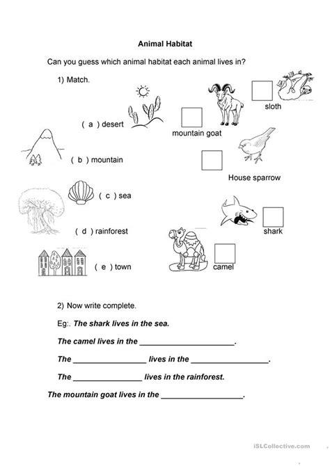 kindergarten worksheets animal habitats animal habitats