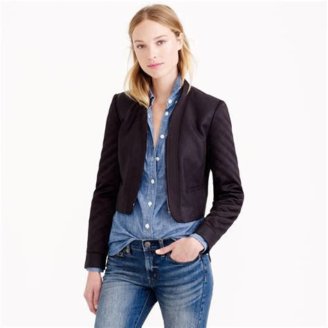 j crew quilted jacket j crew quilted cropped jacket in black lyst