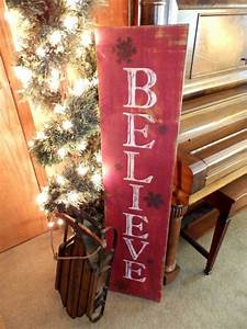 Vertical, Distressed, Red, And, Black, Believe, Sign, With, Metal