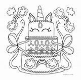 Unicorn Cake Birthday Coloring Sheet sketch template