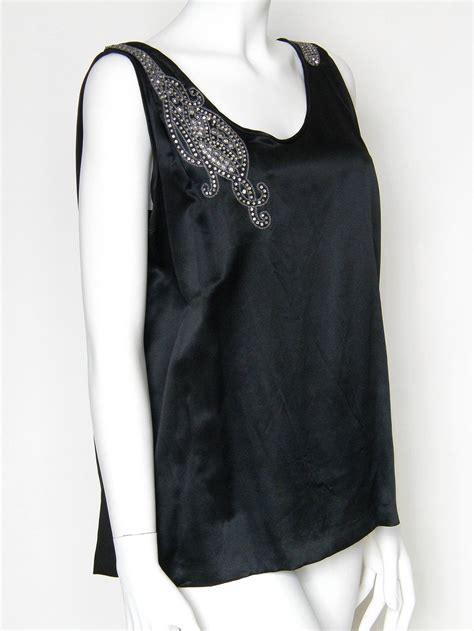evening blouse black satin evening blouse with rhinestones and beading at