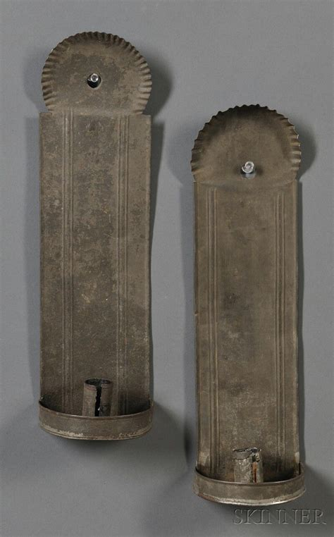 pair of tin candle sconces america early 19th century