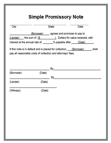 promissory note template word promissory note template free word templates