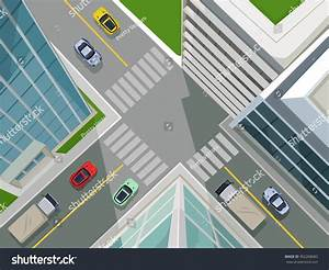 Street In A City, Top View. Vector Flat Illustration ...