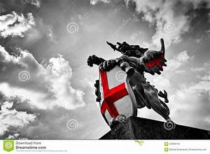 St George Dragon Statue In London, The UK. Black And White ...