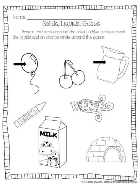 images  solid  liquid matching worksheets