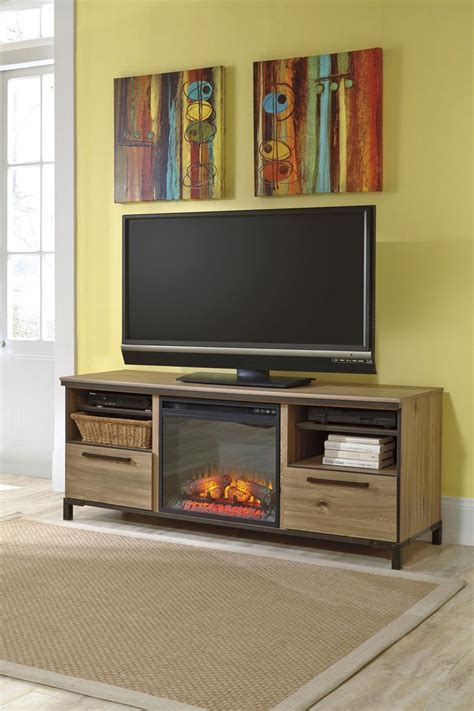 large tv stand  fireplace option ashley home gallery