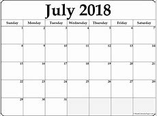July 2018 free printable blank calendar collection