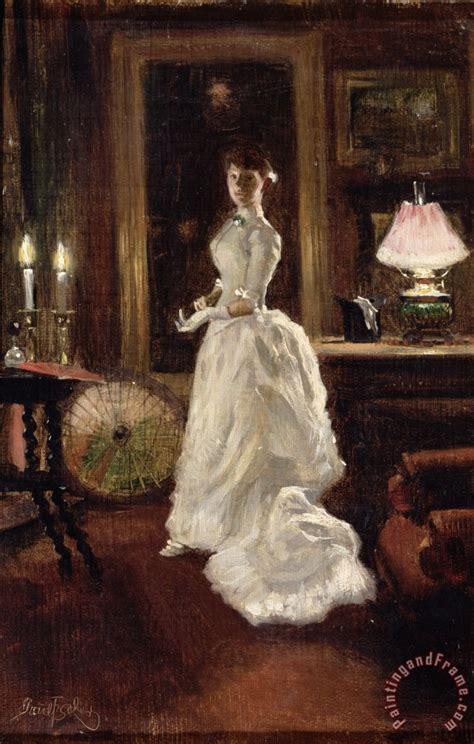 paul fischer interior scene   lady   white evening