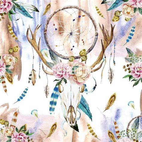 Boho Bedding Watercolor Deer Skull Wildflowers Duvet