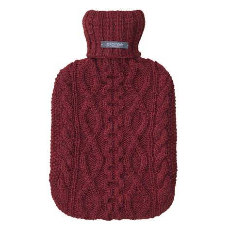 Light Maroon Luxury Hot Water Bottle Cover By Ekotree