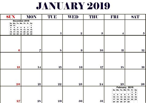 Print January 2019 Calendar