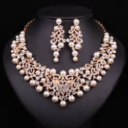 bridesmaid jewelry set fashion pearl statement necklace earrings bridal jewelry sets gold plated jewellery