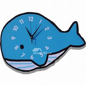 Novelty, Wall, Clocks, Wooden, Whale, Unique, Blue, Kids, Analog, Cute