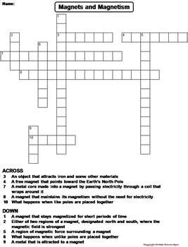 magnets and magnetism worksheet crossword puzzle by science spot