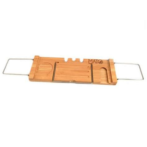 bamboo extendable shower bathtub caddy from mato naturals