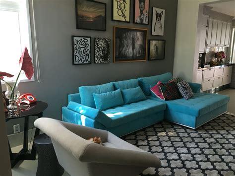 sofa turquesa sala sof 225 azul turquesa 233 o destaque da sala decora 231 227 o