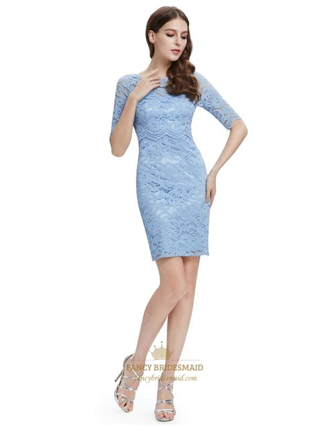 light blue cocktail dress light blue lace sheath cocktail dress with half sleeves