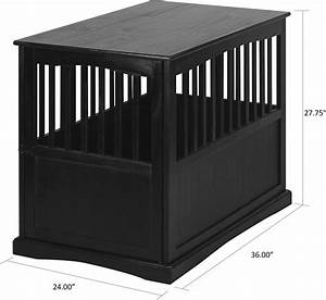 casual home end table dog crate medium large black With black dog crate end table