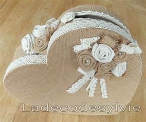 Urne Mariage Champêtre : urne coeur en toile de jute dentelle fleurs en tissu et ~ Melissatoandfro.com Idées de Décoration