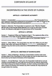 free florida corporate bylaws template pdf word With s corp bylaws template