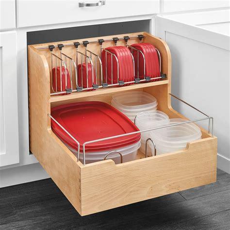 rev  shelf wood food storage container organizer  base cabinets wayfair