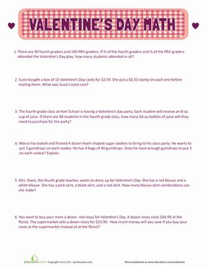 valentine s day word problems worksheet education