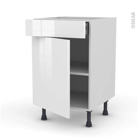 meuble blanc de cuisine meuble de cuisine bas stecia blanc 1 porte 1 tiroir l50 x h70 x p58 cm oskab