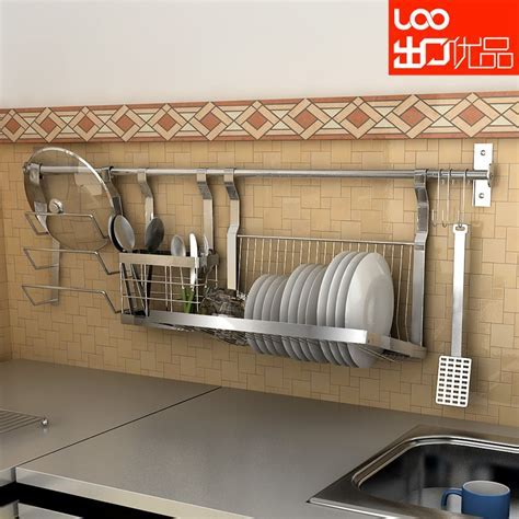 Wall mounted stainless steel shelf dishes rack seasoning