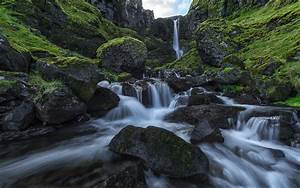 Iceland, Snaefellsness, Peninsula, Waterfall, After, The, Rain, Rocks, Green, Moss, Smooth, Water, Landscape
