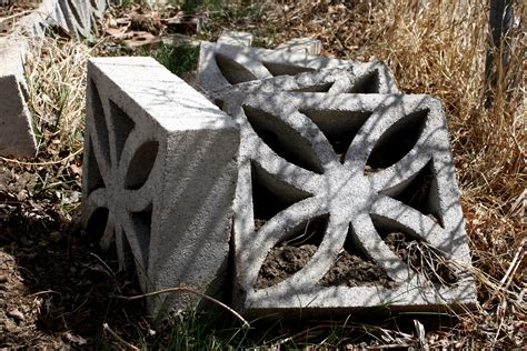 decorative cinder blocks piled in the garden picture
