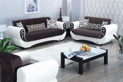 brown fabric white vinyl modern convertible sofa bed
