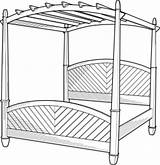 Bed Cartoon Clip Poster Four Outline Clipart Furniture Lineart Wood Beds Bett Canopy Sleep Coloring سرير تلوين صوره Signpost Domain sketch template