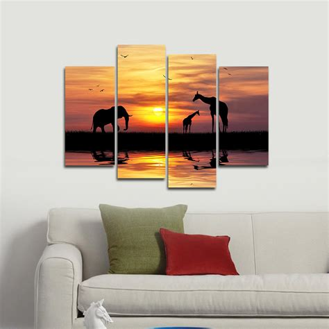 wieco 4 pcs africa elephants canvas prints modern