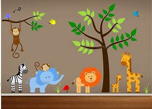 jungle theme nursery wall decal jungle bedroom art With fantastic jungle theme wall decals for kids room