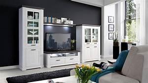 Wohnzimmer In Weiß : wohnwand gasparo anbauwand wohnzimmer in schneeeiche wei pinie grau ~ Orissabook.com Haus und Dekorationen