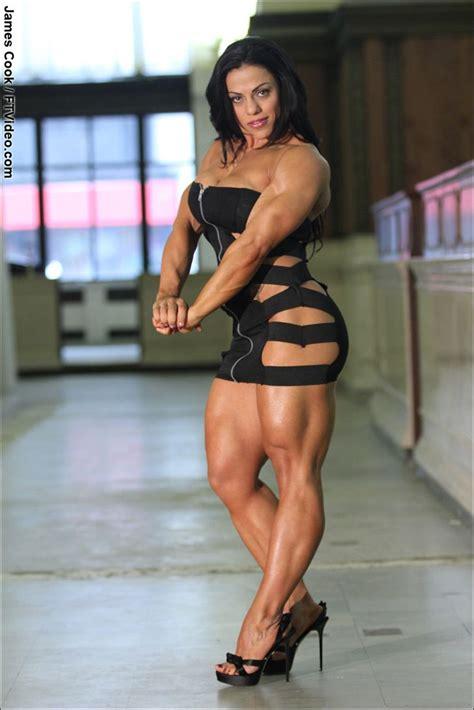 female mavi gioia muscle heels bodybuilder fitness bodybuilding dress muscles flexing muscular abs beauty legs ftvideo bodybuilders models tiny lovely